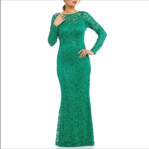 NWT Marina Sequin Lace Long Sleeve Gown Green 10